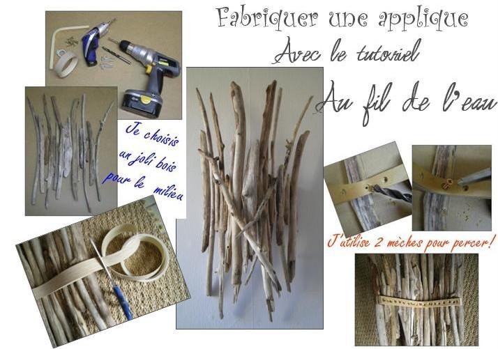tutoriel pour apprendre fabriquer une applique murale en bois flott. Black Bedroom Furniture Sets. Home Design Ideas