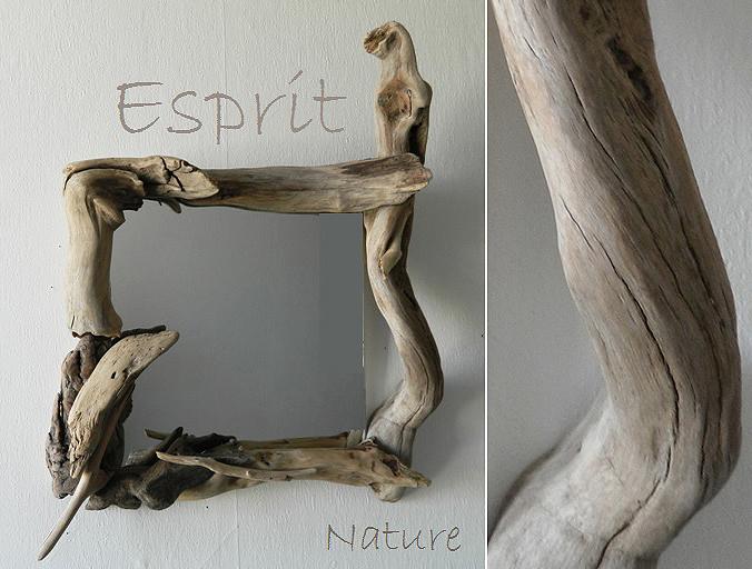 Miroirs en bois flott cr ations au fil de l 39 eau for Miroir zen nature