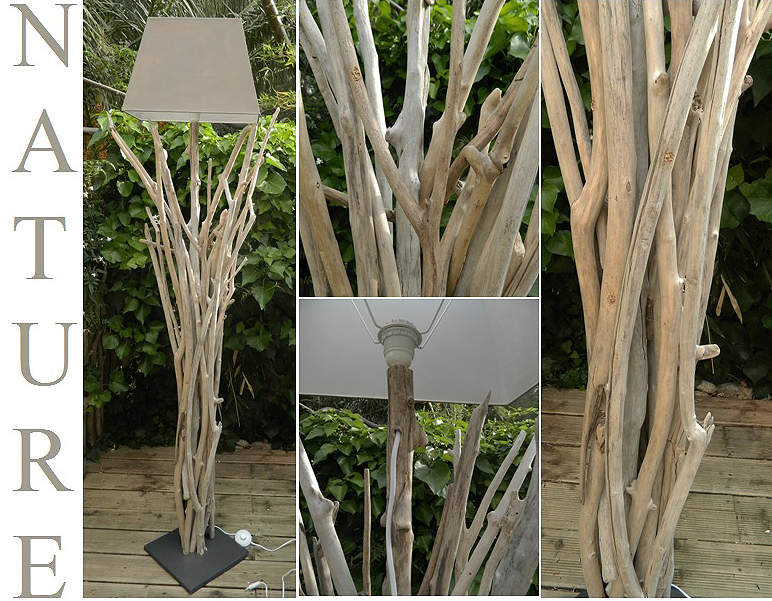 Lampadaires en bois flott cr ations au fil de l 39 eau for Deco nature creation bois flotte