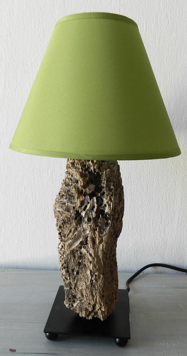 Lampe de chevet n 54 au fil de l 39 eau bois flott - Comment fabriquer une lampe de chevet ...
