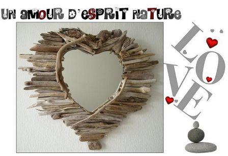 Miroir coeur n 10 au fil de l 39 eau bois flott for Miroir de l eau