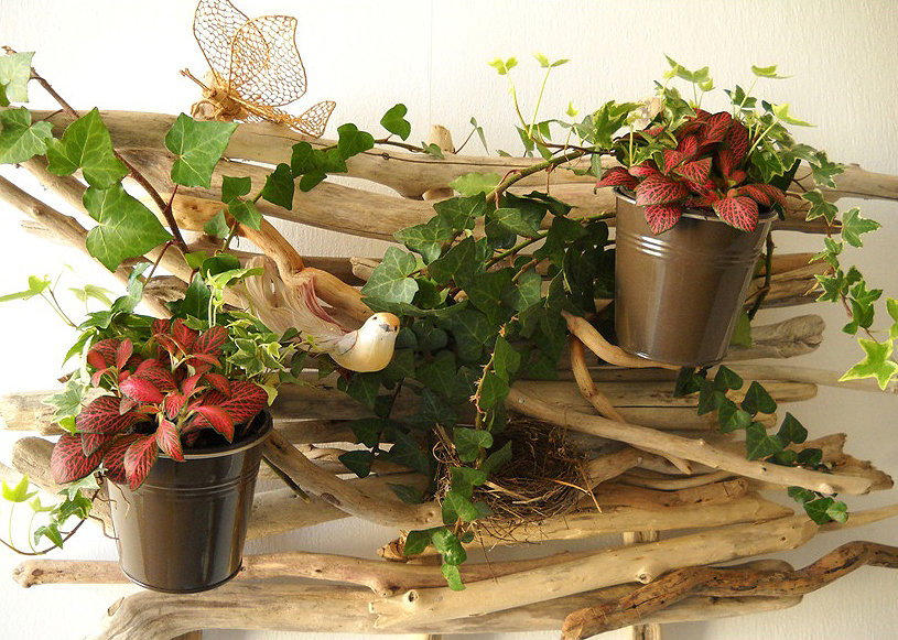 Tableau v g tal en bois flott au fil de l 39 eau bois for Centre table bois flotte fleurs